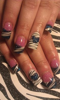 """Like this but the accent nail is not my style.     Happy not """"blue"""" by jlfastnacht - Nail Art Gallery nailartgallery.nailsmag.com by Nails Magazine www.nailsmag.com #nailart"""
