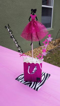 Barbie Inspired Personalized Centerpieces by Barbie Theme Party, Barbie Birthday Party, Doll Party, Girl Birthday, Barbie Centerpieces, Princess Birthday Centerpieces, Party Centerpieces, Diva Birthday Parties, Decoration