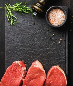 beef Eye Round steaks Raw beef Eye Round steaks with spices and rosemary on black slate stone board over dark wooden background top view copy space Beef Eye Round Steak, Food Menu Design, Meat Shop, Food Photography Styling, Photography Ideas, How To Make Salad, Nutrition Tips, Raw Food Recipes, Slate Stone