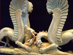 Table Support in the Shape of Griffins Attacking a Doe Greek made in South Italy 325-300 BCE Marble and Pigment.