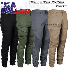 Mens Twill Biker Jogger Pants Active Apparel Casual Slim Fit Elastic Style S-XL #ChronicleFashion #CasualPantsTwillBikerJogger
