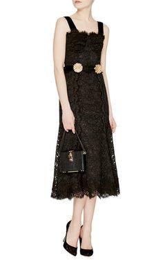 Sleeveless Lace Dress With Flower Brooch Belt by Dolce & Gabbana Now Available on Moda Operandi