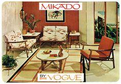 Mikado rattan furniture by Vogue, 1961