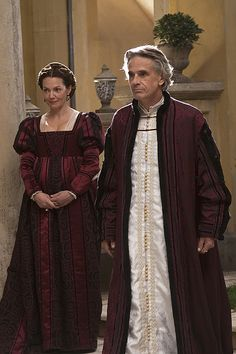 Okay ,this is a little bit of a stretch, but don't they look like some kind of freaky Santa & Mrs Claus. The Borgias - Vanozza and Rodrigo-- Italian Renaissance Dress, Renaissance Era, Renaissance Fashion, Period Costumes, Movie Costumes, Los Borgia, Avatar, Casual Summer Outfits For Women, The Borgias