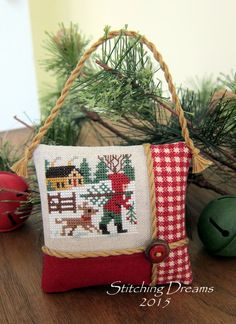 Stitching Dreams: 2015 Parade of Ornaments! Cross Stitch Christmas Ornaments, Xmas Cross Stitch, Cross Stitch Pillow, Cross Stitch Love, Cross Stitch Needles, Christmas Cross, Cross Stitch Designs, Cross Stitching, Cross Stitch Embroidery