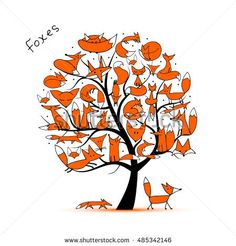 Fox family, art tree for your design