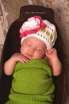 Baby Girl Photo prop setNewborn photo prop set Knit by fairyshred, $50.00