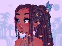 Black Love Art, Black Girl Art, Black Girl Magic, Black Girls Drawing, Black Cartoon Characters, Black Girl Cartoon, Cute Cartoon Girl, Cartoon Girl Drawing, Cute Art Styles