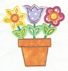 Flower Pot Applique 2 Sizes   Spring   Machine Embroidery Designs   SWAKembroidery.com Designs by Juju