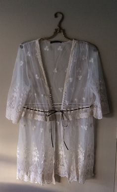 Image of Anthropologie resort 2017 beach boho sheer lace kimono with drawstring and crochet details