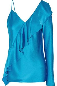 Diane von Furstenberg - Asymmetric Ruffled Satin Top - Blue - US
