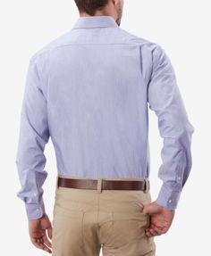 Tommy Hilfiger Men's Classic Fit Non-Iron Stripe Dress Shirt - Purple 16.5 36/37