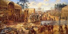 Settlers in Jamestown, the first permanent English settlement in America, trading with Indians in the fort. Us History, Family History, Immortal Romance, Jamestown Colony, Roanoke Island, Native American Warrior, Colonial America, Christopher Columbus, Fortification