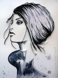 Картина панно рисунок Квиллинг Моя красотка Бумажные полосы фото 2