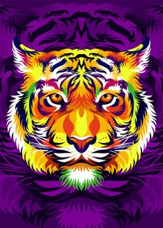 colorful Tiger Head detailed, premium quality, magnet mounted prints on metal designed by talented artists. Our posters will make your wall come to life. Lion Painting, Dot Art Painting, Tableau Pop Art, Tiger Poster, Animal Print Wallpaper, Tiger Art, Colorful Animals, Rainbow Art, Arte Pop