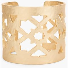 Chico's Flynn Cuff Bracelet ($49) ❤ liked on Polyvore featuring jewelry, bracelets, gold, hammered jewelry, bangle cuff bracelet, cut out cuff bracelet, chicos jewelry and hammered cuff bracelet