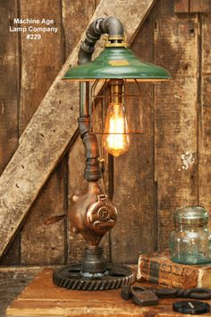 Steampunk Industrial Lamp, Steam Gauge #229
