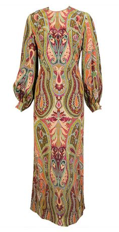 1970s James Galanos - Vintage calf length peasant sleeved psychedelic printed dress