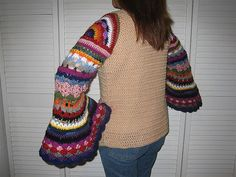Coat of Many Colors Sweater (Molly Weasley Sweater) by Shelle Hendrix. Pattern $7.00 on Ravelry at http://www.ravelry.com/patterns/library/coat-of-many-colors-sweater-molly-weasley-sweater