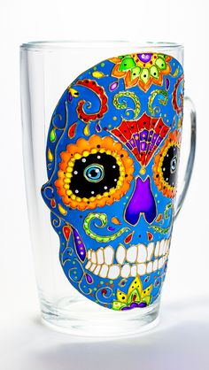 Sugar Skull Mug Day of The Dead Hand Painted Mexican Folk Art Dia de los Muertos