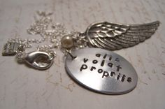 Alis Volat Propriis Necklace ...Silver Version...She Flies With Her Own Wings