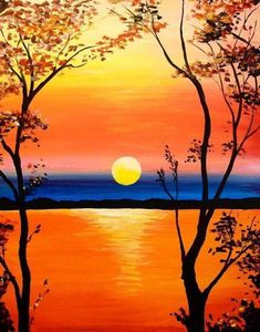 Do you need easy acrylic paintings? Today I'm sharing easy acrylic painting ideas for beginners to try. Simple acrylic paintings, improve your acrylic art. Easy Canvas Painting, Simple Acrylic Paintings, Acrylic Painting Tutorials, Easy Paintings, Painting & Drawing, Landscape Paintings, Canvas Art, Sunset Painting Easy, Canvas Ideas