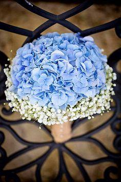 Rustic Wedding Bouquet With: Blue Hydrangea + White Gypsophila (Baby's Breath)