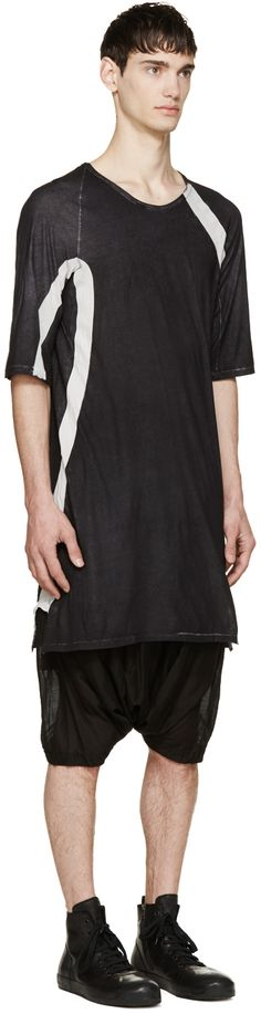 Visions of the Future: 11 by Boris Bidjan Saberi Washed Black & White Long T-Shirt