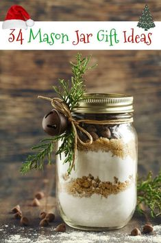 Chocolate chips cookie mix for Christmas gift by anjelagr IFTTT wooden background baked bakery brown cake celebrate celebration chocolate chip christm Mason Jar Cocktails, Mason Jars, Mason Jar Gifts, Gift Jars, Snow Globe Mason Jar, Christmas Jars, Christmas Crafts, Christmas Ideas, Xmas