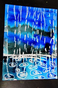 smART Class: Winter Rain Watercolor Resist - drops smaller further awaysmART Class: Winter Rain Watercolor Resist - I like this idea for springtime but also to combine with David Hockney Look forward to getting out of those freezing temps and turn a Kindergarten Art, Preschool Art, Projects For Kids, Art Projects, Classe D'art, Weather Art, Weather Check, Smart Class, Rain Art
