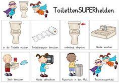 Lehrerkollegium, Lehrer Blog Zaubereinmaleins, Poster für Kinder wie die Toilette zu benutzen ist, Regeln, Bilder, Reihenfolge der Schritte, Abfolge, Struktur, Tagesablauf, Ablauf, Abläufe, Organisation, Klassenraum