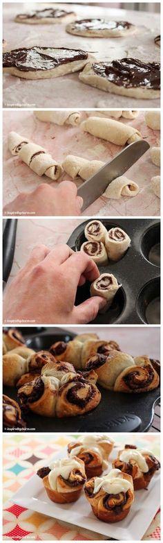 Nutella Rolls with Cream Cheese Icing | Christmas Morning / Breakfast / Brunch / Recipe inspiredbycharm.com