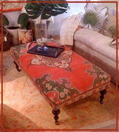 Upholstered Ottoman Coffee Table, Kilim Ottoman, Diy Ottoman, Ottoman Ideas, Living Room Seating, Rugs In Living Room, Ottomans, Sadie, Furniture