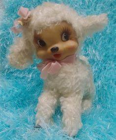 Vintage Rushton Rubber Vinyl Face Stuffed Plush Easter Lamb