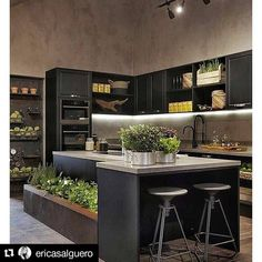 Browse photos of Small kitchen designs. Discover inspiration for your Small kitchen remodel or upgrade with ideas for organization, layout and decor. Home Decor Kitchen, New Kitchen, Home Kitchens, Kitchen Dining, Earthy Kitchen, Kitchen Ideas, Kitchen Black, Modern Kitchens, Kitchen Colors