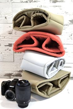 $39 Padded foam camera insert for your dslr camera and gear, with lens on, for your purse, Zipper close, backpack, diaper bag, travel bag or tote, protect your camera equipment, light grey camera bag – Darby Mack Designs