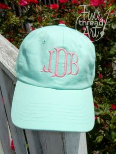 New! Mint Green and Aqua Blue Monogram Baseball Caps, $19.50 plus $3.95 shipping! Available at Fine Thread Art