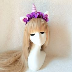 Unicorn Horn Headband, Princess Celestia inspired headband, forest themed coordinates, pony cosplay floral crown, party girl headband