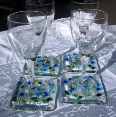 Fused+Glass+Coasters+Blooming+Branches+in+Blue+by+Shakufdesign,+$32.00