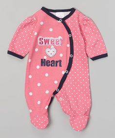 Another great find on #zulily! Hot Pink 'Sweet Heart' Polka Dot Footie #zulilyfinds
