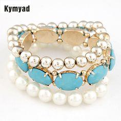 Kymyad Bohemian Bracelet Stretch Bracelets Bangles For Women Resin Multi Layer Bracelets Bijoux Pulseira Feminina #Affiliate