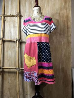 Women's Upcycled Bright T Shirt Tunic/Dress Fun Funky