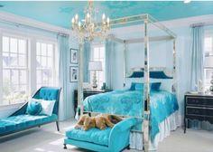 Turkuaz mavisi yatak odaları
