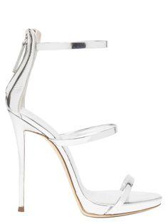 Giuseppe Zanotti Harmony 120 Silver Metallic Leather Sandals In Grey Giuseppe Zanotti Shoes, Zanotti Heels, White High Heels, Fashion Heels, Leather Sandals, Shoes Sandals, Stiletto Heels, Peep Toe, Footwear