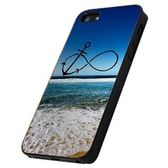Infinity Anchor Ocean Beach - Print Hard Case iPhone 4/4s or iPhone 5 Case - Black or White Bumper (Option)