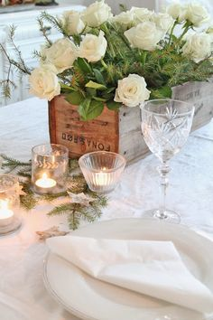Roses in a box with Linen & Crystal, casual elegance