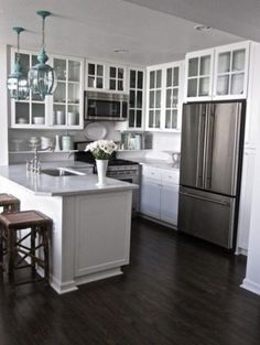 Wood Flooring in White Inspiring Small Kitchen Ideas