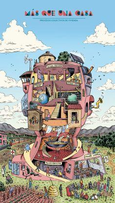 Vivir en comunidad: Cooperativas de vivienda y cohousing « La Ciudad Viva Co Housing, Brochure Inspiration, Anime Version, Wallpaper Decor, Urban Sketching, Architectural Elements, Creative Art, Design Art, Illustration Art