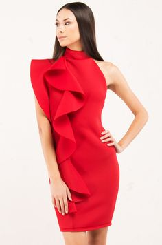 09a4c39d71c5 High Neck Bodycon Backless Ruffle Mini Dress in Red, Black