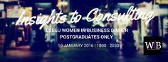 LSESU Women in Business Society. FB header for Insights to Consulting dinner